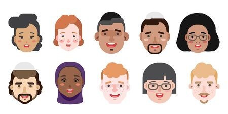 Collection of simple vector illustrations of multiracial and multicultural face avatars. People of race Stock fotó - 129482224