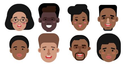 Collection of simple vector illustrations of multiracial and multicultural face avatars. People of race Stock fotó - 129482232