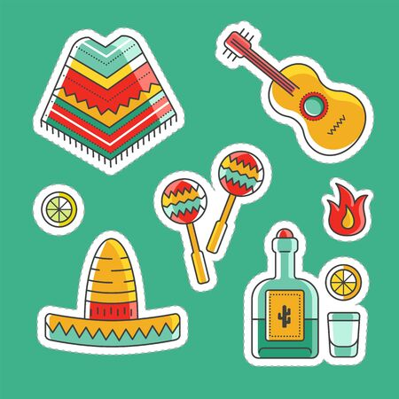 Collection of vector sticker illustration pack. Colorful mexican symbols of country, national culture. Traditional signs of mexican traveling.  イラスト・ベクター素材