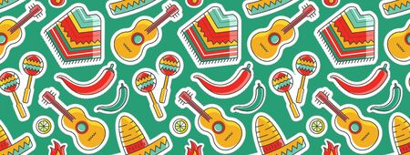 Simple colorful bright color vector seamless background with mexican poncho, guitar and sombrero. Mexican traditional symbols made as textile endless background.  イラスト・ベクター素材