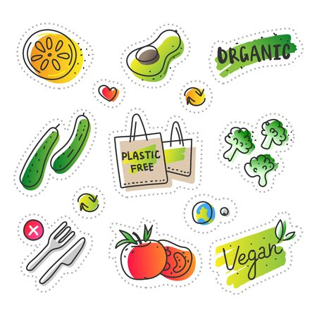 Collection of eco natural illustrations in sketchy minimalistic style of healthy eco natural products, free hand vector drawing of plastic free zero waste lifestyle. Drawn images of farming veggies Stok Fotoğraf - 129482297