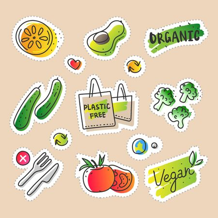 Collection of eco natural illustrations in sketchy minimalistic style of healthy eco natural products, free hand vector drawing of plastic free zero waste lifestyle. Drawn images of farming veggies