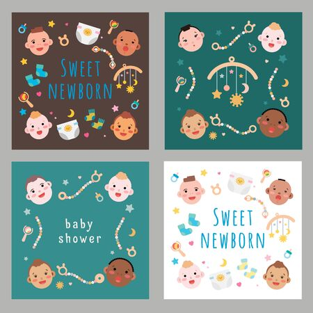 Simple vector illustrations of newborn babies faces of different race and skin color. Baby accessories illustrated as flat style card design for baby shower party