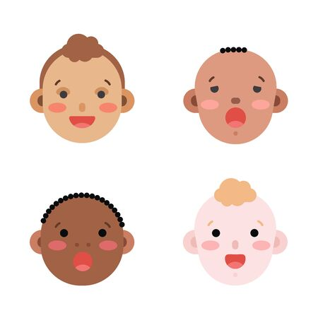 Collection of simple vector illustrations of newborn babies faces of different race and skin color. Baby emoticons illustrated as flat style icons isolated on white