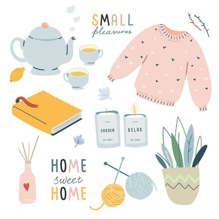 Collection of cute vector illustration hygge lifestyle elements. Autumn and winter comfort mood. Home decorations isolated on white background. Scandinavian style. Pastel color.