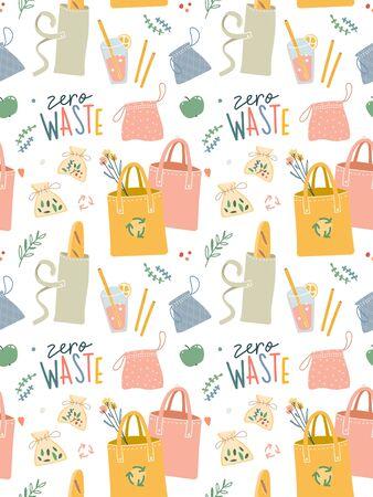 Nahtloses Vektormuster mit handgezeichneten Null-Abfall-Elementen. Ökologische Lifestyle-Vektorillustrationen im modernen, trendigen, flachen Cartoon-Stil. Wiederverwendbare Taschen, Pinsel und Flaschen, Motivationsschriftzug.