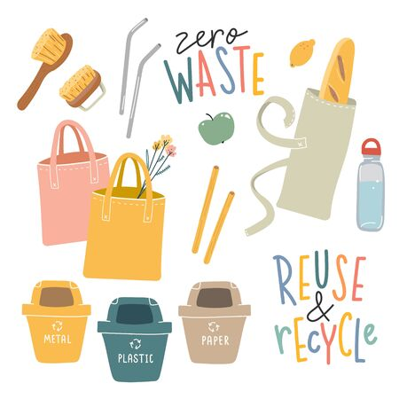 Collection of hand drawn zero waste elements and lettering quotes. Ecological lifestyle vector illustrations in modern trendy flat cartoon style. Reusable bags, brushes and bottle, isolated on white.
