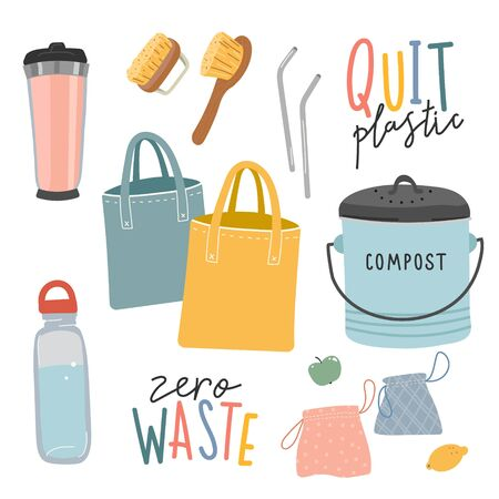Collection of hand drawn zero waste elements and lettering quotes. Ecological lifestyle vector illustrations in modern trendy flat cartoon style. Reusable bags, brushes and bottle, composter isolated on white.