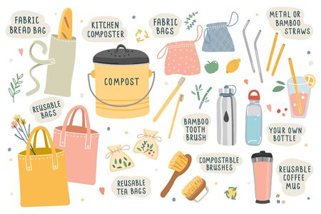 Collection of hand drawn zero waste elements. Ecological lifestyle vector illustrations in modern trendy flat cartoon style. Reusable bags, brushes and bottles, kitchen composter, isolated on white.