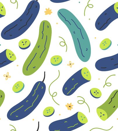 Seamless vector pattern with hand drawn cucumber green vegetables. Endless repeat background of  handdrawn veggies with slices and doodles. Trendy flat naive style. good for print fabric or wrapping. Çizim