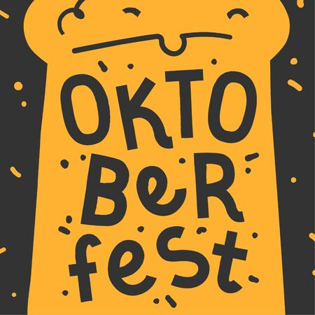 Handdrawn illustration in black and yellow colors with background.  Beer mug and handwritten lettering for oktoberfest celebration. Good for print poster or banner for october beer festifal. Banque d'images - 129482388