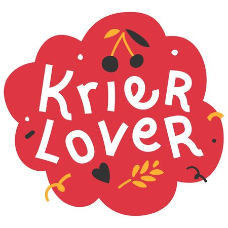 Handdrawn flat illustration with background. Handwritten lettering for oktoberfest. Good for poster, sticker or t-shirt print for october beer festifal. Kriek cherry lambic lover phrase with doodles.  イラスト・ベクター素材
