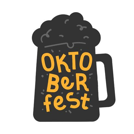 Handdrawn illustration in black and yellow colors with beer mug and handwritten lettering for oktoberfest celebration. Good for poster, banner or enamel pin, fridge magnet souvenir or sticker. Banque d'images - 129482396
