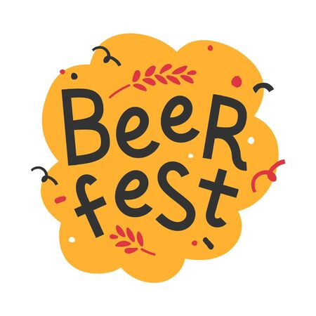 Handdrawn trendy flat illustration with background. Handwritten lettering for oktoberfest celebration. Good for print poster or banner for october beer festifal. Wheat branch and doodle elements. Banque d'images - 129482395