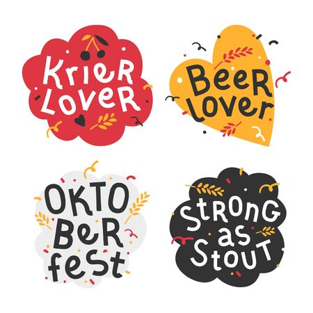 Handdrawn flat illustrations with background. Handwritten lettering for oktoberfest. Good for poster, sticker or t-shirt print for beer festifal. Beer and kriek lambic lover quote with doodles.  イラスト・ベクター素材