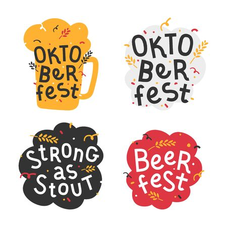 Handdrawn flat illustrations with mug background. Handwritten lettering for oktoberfest. Good for poster, sticker or t-shirt print for caft beer festifal. Strong as stout quote with doodles.  イラスト・ベクター素材
