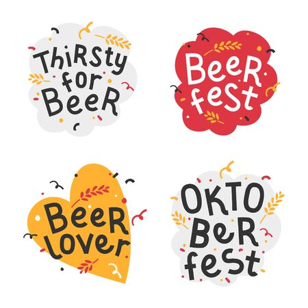 Handdrawn flat illustrations with background. Handwritten lettering for oktoberfest. Good for poster, sticker or t-shirt print for beer festifal. Thirsty for beer quote with doodles for octoberfest.