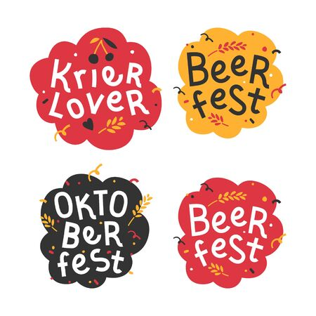 Handdrawn flat illustrations with background. Handwritten lettering for oktoberfest. Good for poster, sticker or t-shirt print for beer festifal. Beer and kriek lambic lover quote with doodles. Illustration
