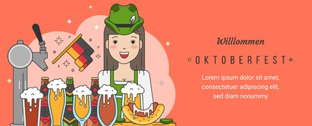 Web banner template for oktoberfest celebration with linear trendy modern flat vector illustrations. Cute german girl waitress with beer mugs and snacks in pub or bar in traditional folk clothes.