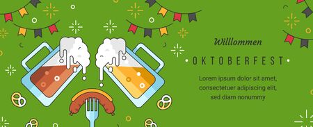 Web banner template for oktoberfest celebration with linear trendy modern flat vector illustrations. Poured beer mugs with foam and sausage on fork in pub or bar for october fest.  Festival flags.