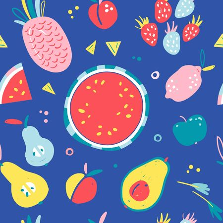 Hand drawn illustrations of fruit in bright colors and modern handrawn sketch style. Neon vector seamless pattern. Endless background of tropical fruit ingredients, good for print textile or wrapping.