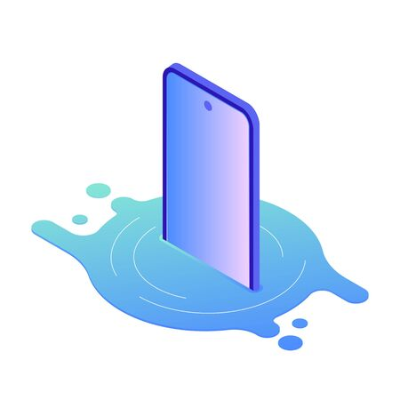 Vector isometric illustration of broken smartphone damaged by water. Floating device put in liquid, modern trendy gradient style. Various smartphone brake down reasons for gadget repair service. Illustration