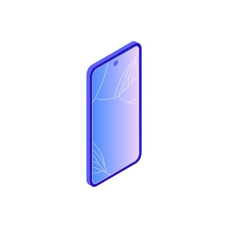 Vector isometric illustration of broken smartphone with damaged cracked screen. Floating device in  modern trendy gradient style. Various smartphone brake down reasons for gadget repair service.