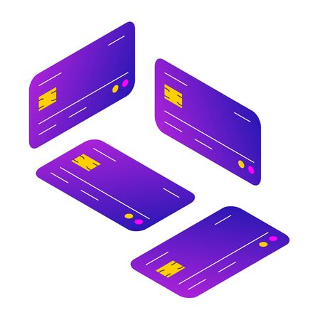 Credit card concept in different isometric positions in trendy gradient isometric design. Vector illustration for card for payment, simple concept icon. Plastic cards in floating and laying positions. Иллюстрация