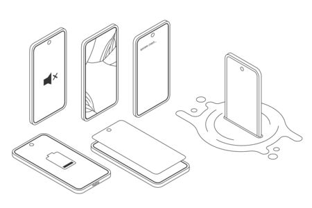 Vector isometric illustration, broken smartphone damaged by water, drop. System crash screen, cracked display. Devices in modern trendy gradient style. Various smartphone brake down for repair service Illustration