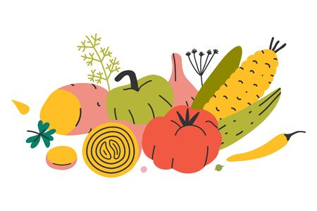 Arrangement of vegetables for farming market, set of vector hand drawn different kinds of veggies. Autumn harvest isolated. Trendy flat cartoon style. 写真素材 - 131799307
