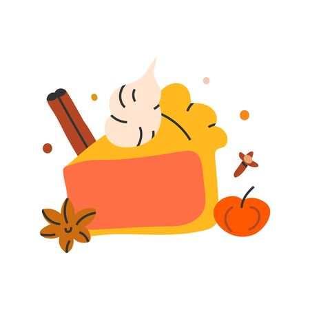 Simple hand drawn illustration of pumpkin pie with cream and spice, indoors seasonal autumn activity. Vector doodle icon in modern trendy flat style.