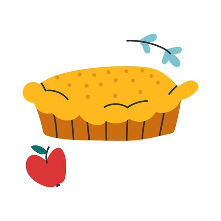 Vector hand drawn illustration of homemade apple pie, seasonal fall symbol. Doodle icon in modern trendy flat cartoon style.