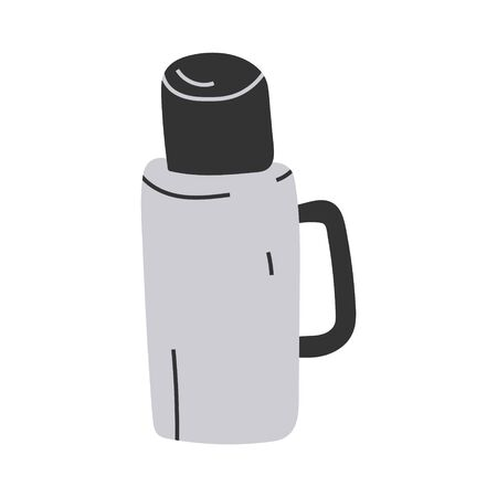 Simple hand drawn illustration of bottle with hot drink, seasonal outfit for cool weather. Vector doodle icon in modern trendy flat cartoon style.
