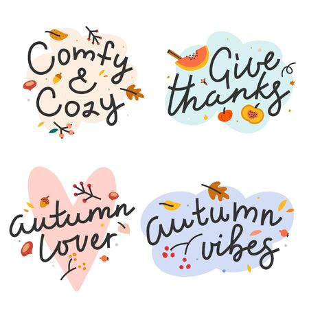 Collection of hand drawn doodle illustrations with handwritten lettering. Greeting banners or cards for autumn theme. Autumn and thanksgiving script quotes decorated with leaves and doodles. 写真素材 - 131351479