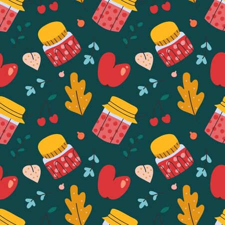 Hand drawn seamless vector pattern with cherry jam jars, homemade dessert. Endless background with berries and leaves, textile fabric or wrapping paper. Decorative doodle wallpaper. 写真素材 - 131799326