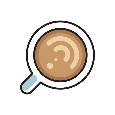 simple flat linear icon, vector illustration of flat lay cup of cappuccino coffee, good as menu icon or cafe. Ilustração