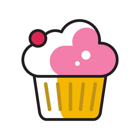 simple flat linear icon, vector illustration of cupcake with cream topping and red berry on top, good as menu icon or cafe.  イラスト・ベクター素材