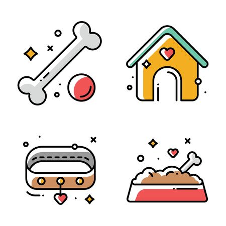 Collection of vector linear icons of dogs kennel, food in bowl  イラスト・ベクター素材