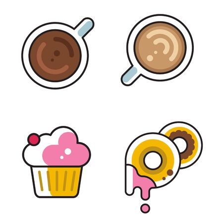collection of simple flat linear icons for cafe, vector illustrations of coffee donuts and cupcake, good as menu icon  イラスト・ベクター素材