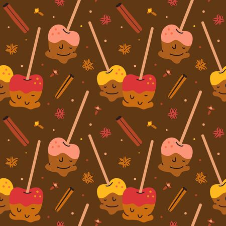 Hand drawn seamless vector pattern with caramel apples. Endless background with taffy apples on-a-stick, seasonal autumn homemade food, textile fabric or wrapping paper. Decorative doodle wallpaper.