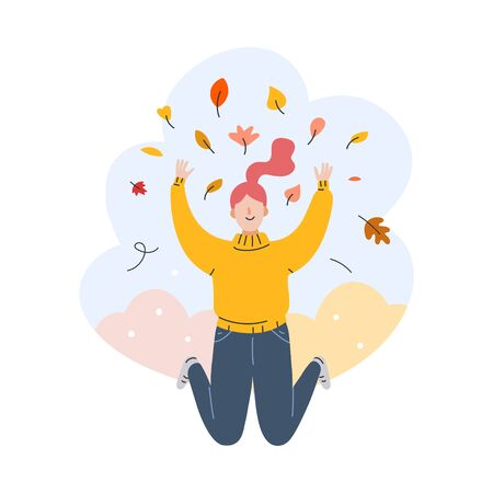 Vector illustration of girl female character smiling and throwing autumn red and yellow leaves in a forest or park in autumn. Hand drawn cartoon illustration, composition for greeting card, banner.
