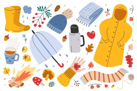 Autumn collection, big set of hand drawn illustrations of fall symbols, vector clip arts. Leaves, bonfire, umbrella, clothes and outfit of rainy weather, seasonal outdoors activities. sticker pack. 写真素材 - 131799384