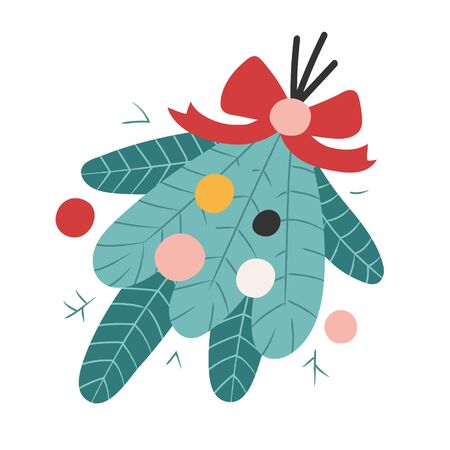 Cute hand drawn doodle illustration of fir branches decorated with ribbons and balls. Colorful seasonal decoration for christmas holidays. Simple doodle icon isolated on white background.