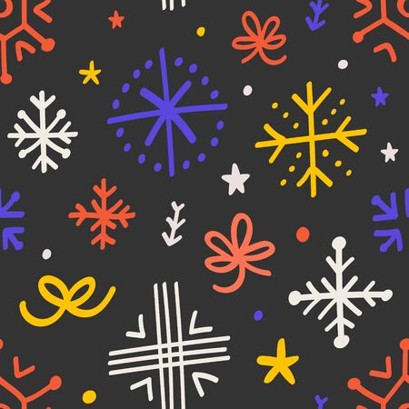 Abstract quirky seamless pattern for christmas celebration with hand drawn doodle snowflakes and ribbons. Modern cartoon winter backdrop for card, wrapping paper design.