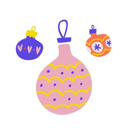 Set of three christmas balls decorations for evergreen tree with colorful ornaments. Hand drawn cute drawn illustration. Flat modern cartoon doodle drawing.