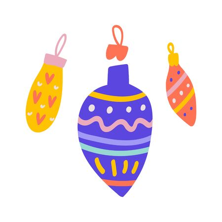 Christmas balls decoration for tree with colorful ornaments. Hand drawn cute doodle illustration. Flat modern cartoon drawing. 写真素材 - 132428075