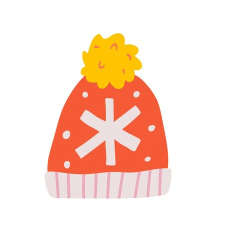 Warm woolen handmade beanie hat with snowflake knitted decoration for cold winter weather. Hand drawn doodle drawing. Isolated illustrations with ornaments. Cute drawn icon. 写真素材 - 132427206