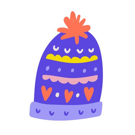 Warm woolen handmade beanie hat with christmas decorations for cold winter weather. Hand drawn doodle illustration. Isolated drawing with ornaments. Cute drawn icon. 写真素材 - 132426939