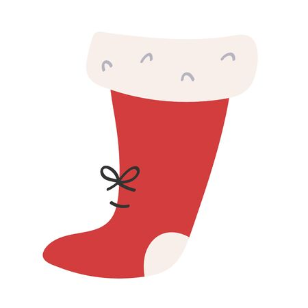 Santa stocking for gifts. Traditional red sock for christmas eve. Cute hand drawn doodle illustration. Isolated cartoon vector element. 写真素材 - 132427086