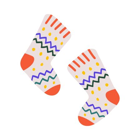 Warm woolen handmade socks with christmas ornaments for cold winter weather. Cute hand drawn doodle illustration isolated on white. Knitted stockings.